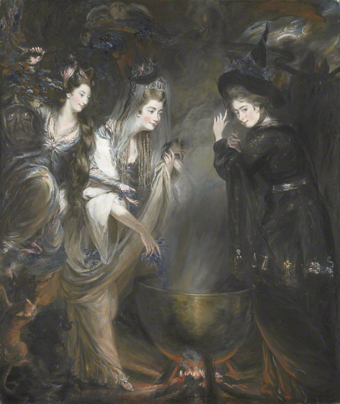 NPG 6903; The Three Witches from Macbeth (Elizabeth Lamb, Viscountess Melbourne; Georgiana, Duchess of Devonshire; Anne Seymour Damer) by Daniel Gardner
